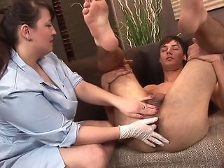 Lush nurse visits her masculine patient for assfuck exam best porn