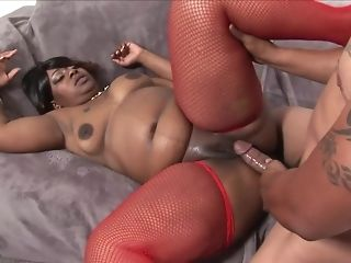 Ebony plus-size fellate off big ebony cock added to gets side screwed in crimson fishnets best sex