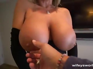 Her Boobs Juggle and She Guzzles Every Gob