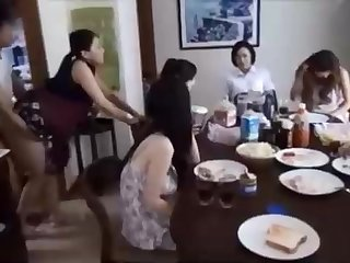 Naughty Chinese fellow is banging his wifey in front of his family, added to loving it